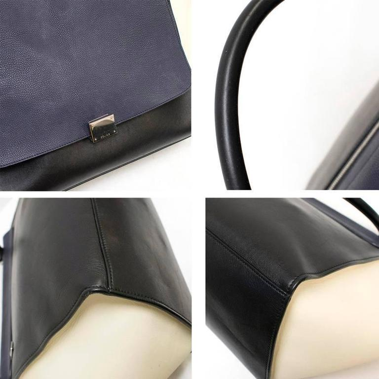 Celine Black, White And Navy Trapeze Bag For Sale 2