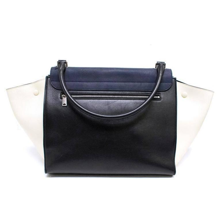 Celine Black, White And Navy Trapeze Bag For Sale 6