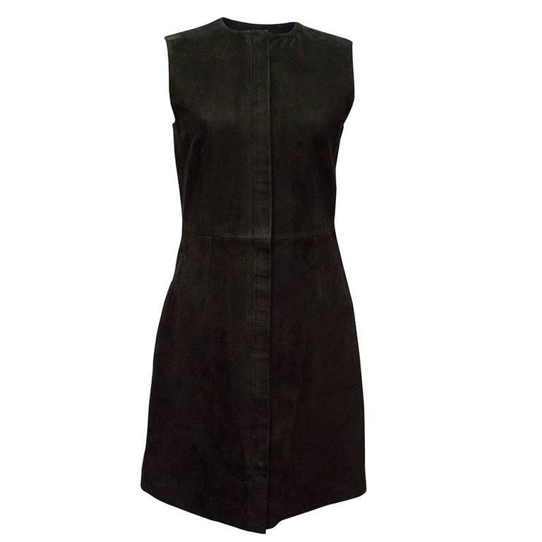 Balenciaga Black Suede Zip-Front Sleeveless Dress For Sale at 1stdibs b42d61942