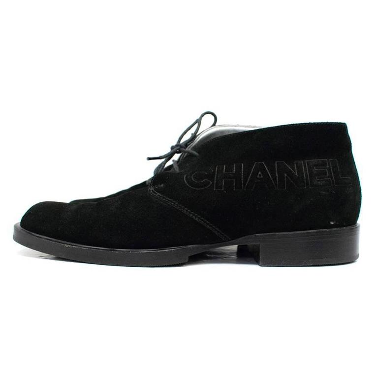 Women's Chanel Black Suede Lace Up Boots For Sale