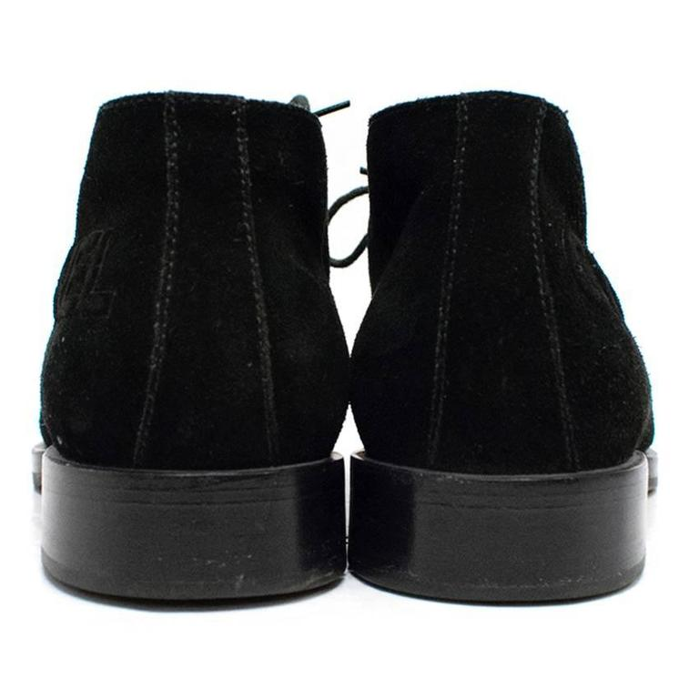 Chanel Black Suede Lace Up Boots In Good Condition For Sale In London, GB