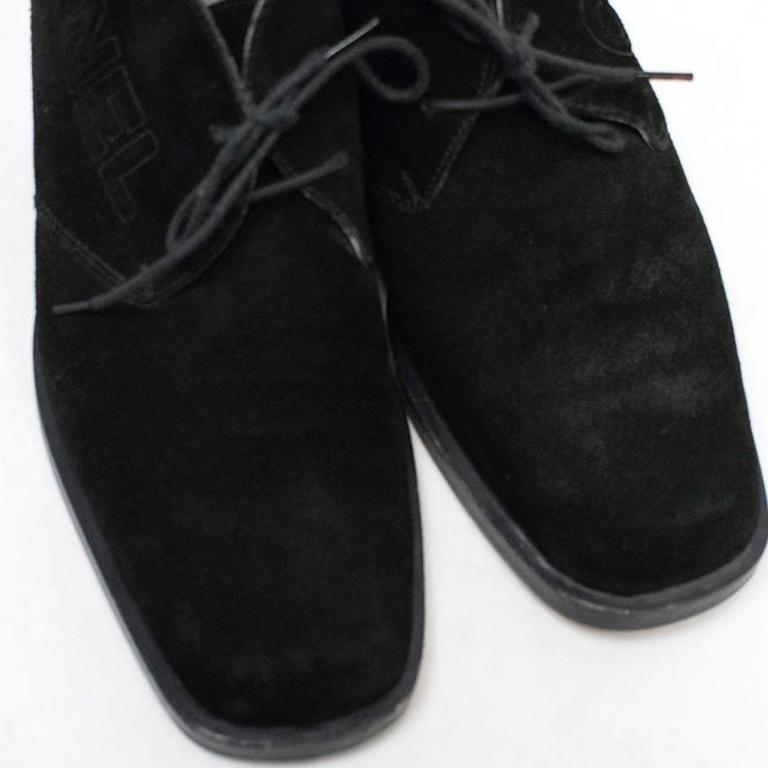 Chanel Black Suede Lace Up Boots For Sale 1