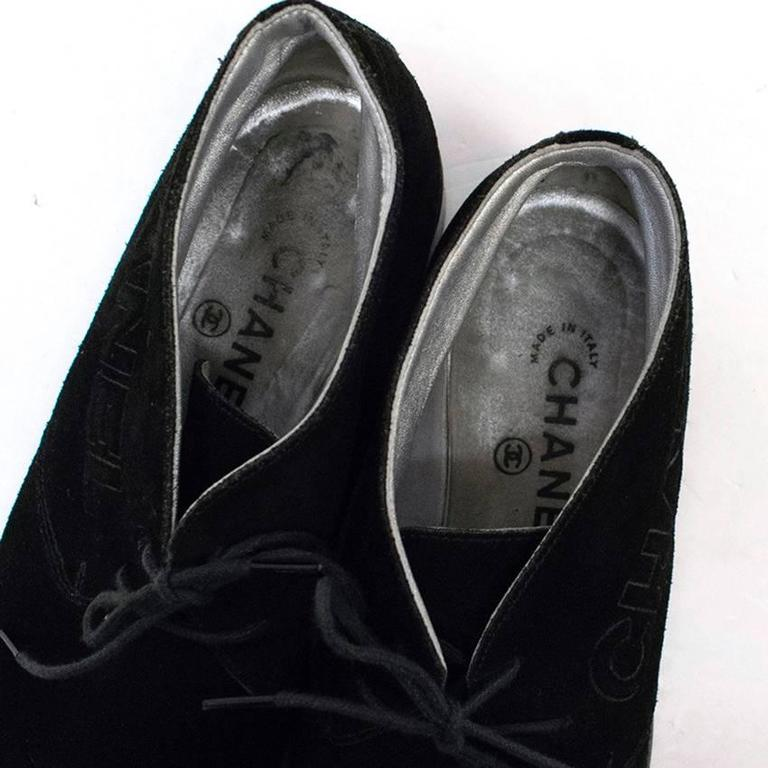 Chanel Black Suede Lace Up Boots For Sale 2