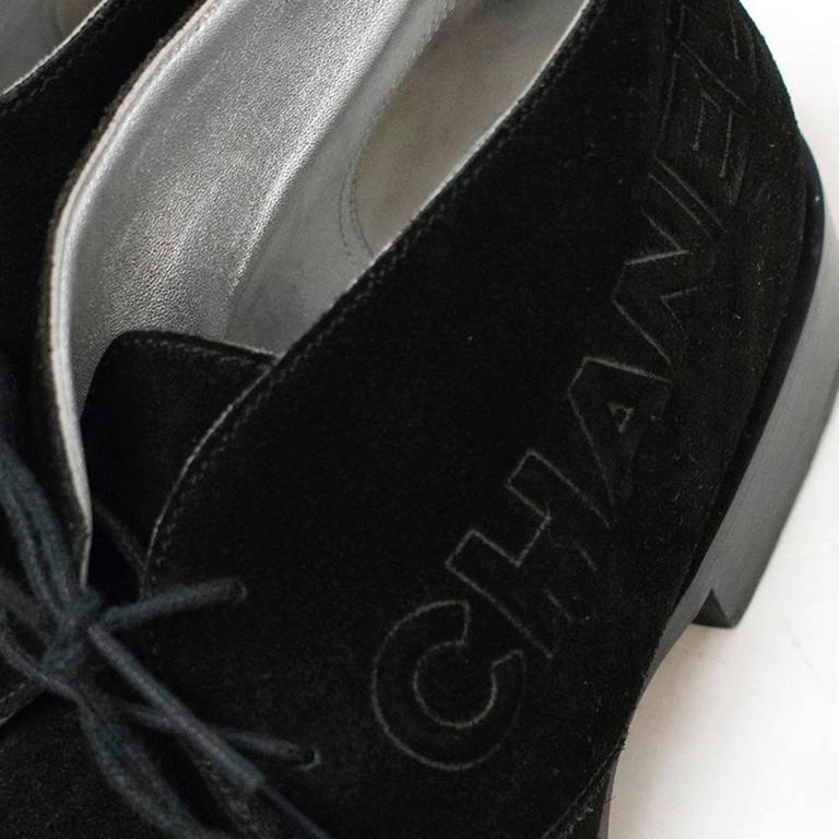 Chanel Black Suede Lace Up Boots 7