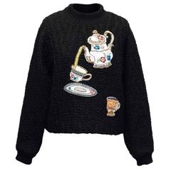 Dolce & Gabbana Black Jumper with Teapot Embellishment