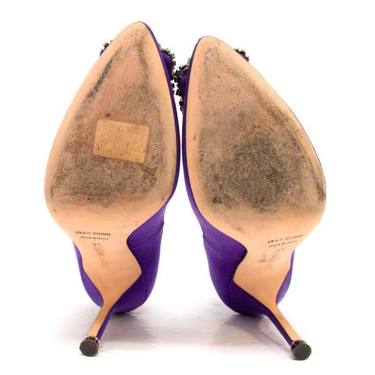 Manolo Blahnik Purple Hanisi 105 Satin Pumps 2