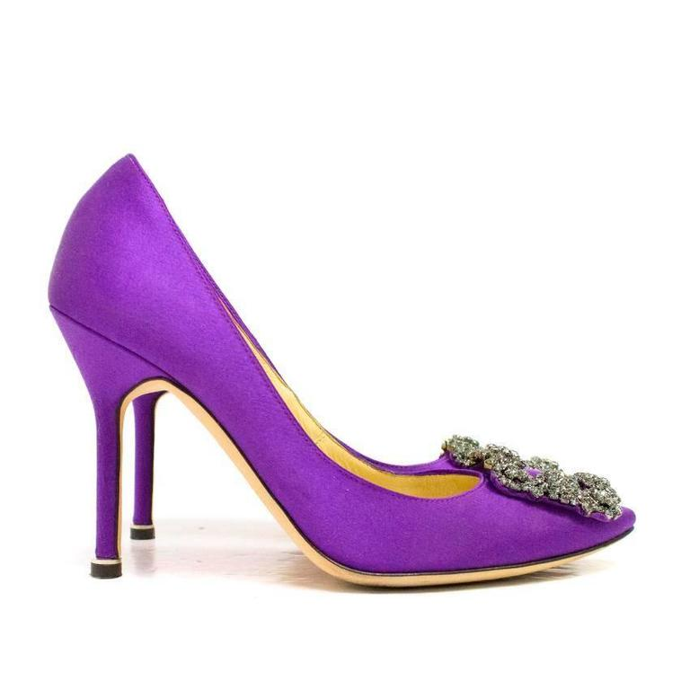 Manolo Blahnik Purple Hanisi 105 Satin Pumps 1
