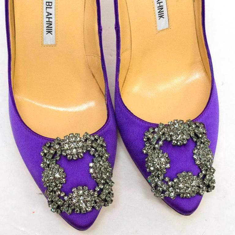 Women's Manolo Blahnik Purple Hanisi 105 Satin Pumps