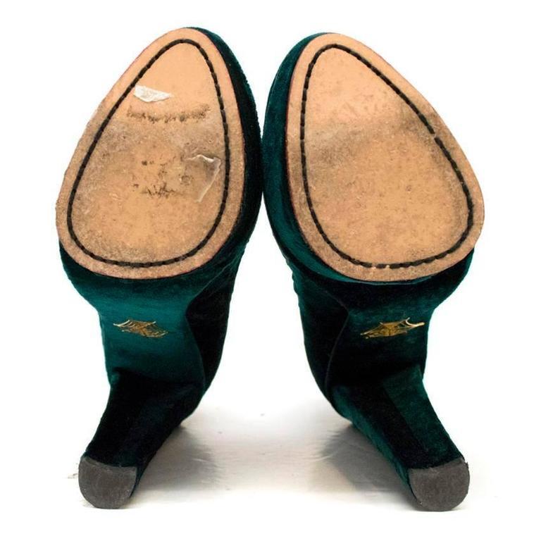 Charlotte Olympia 'The Dolly' Green Velvet Platform Heels 3