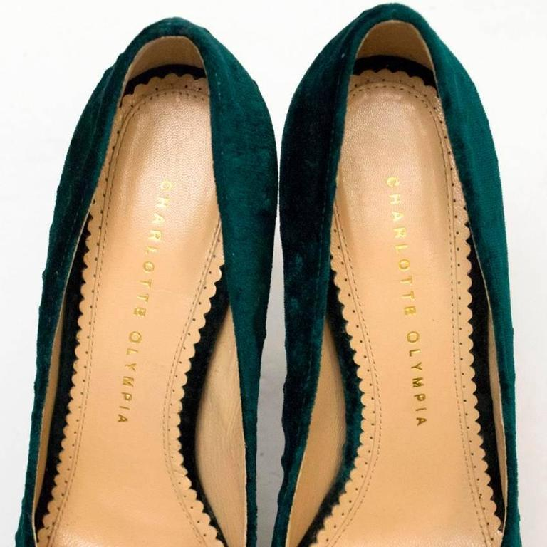 Charlotte Olympia 'The Dolly' Green Velvet Platform Heels 2