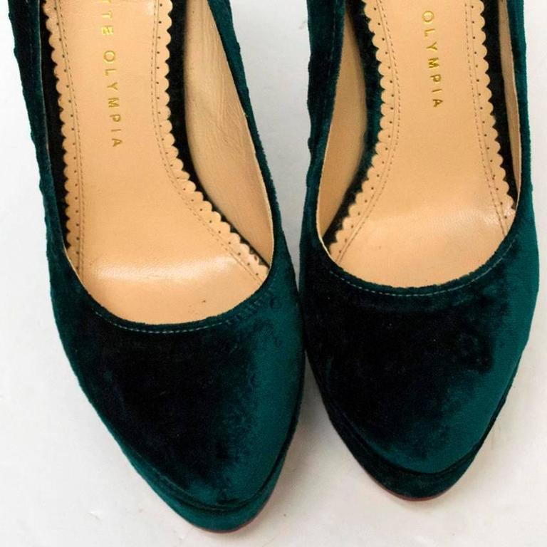Charlotte Olympia 'The Dolly' Green Velvet Platform Heels 1