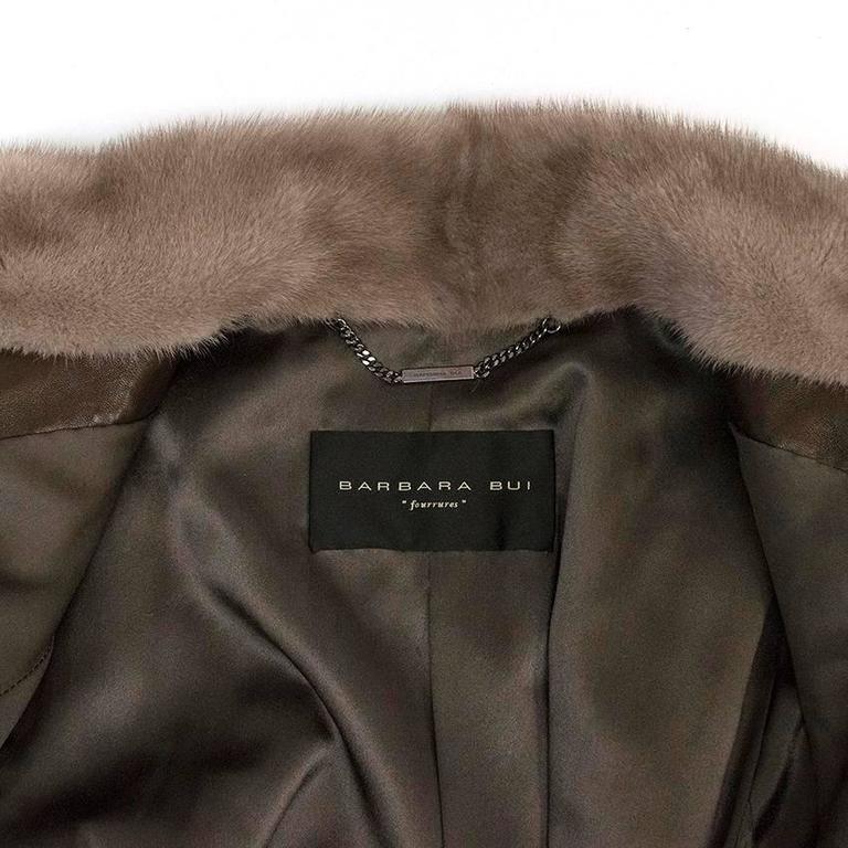 Brown Barbara Bui Grey Mink Fur Jacket with Leather Panels