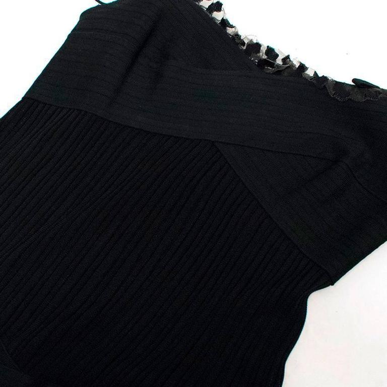 Chanel Black Ribbed Strappy Dress For Sale 2