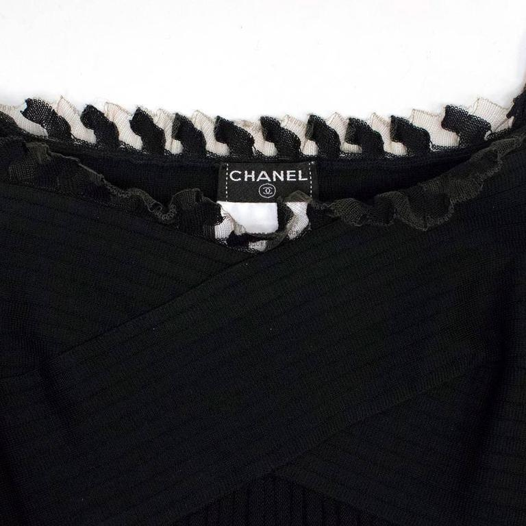 Chanel Black Ribbed Strappy Dress For Sale 3