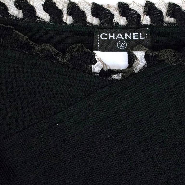 Chanel Black Ribbed Strappy Dress For Sale 5