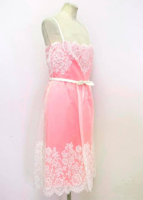 Valentino Pink Lace Overlay Dress - Size US 8 In New Condition For Sale In London, GB