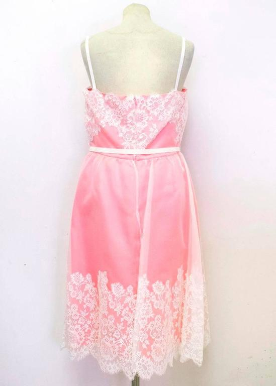 Valentino Pink Lace Overlay Dress - Size US 8 For Sale 2