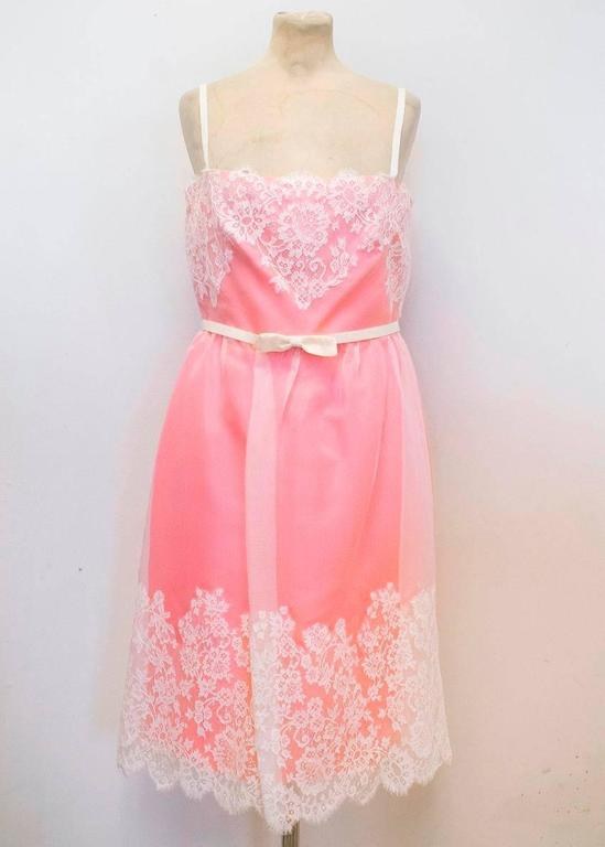 Women's Valentino Pink Lace Overlay Dress - Size US 8 For Sale