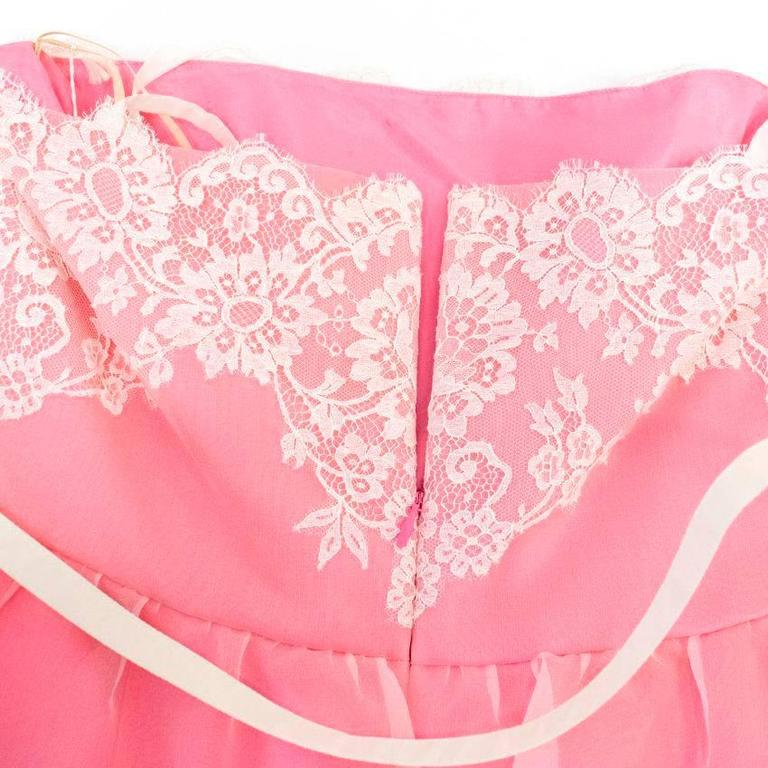 Valentino Pink Lace Overlay Dress - Size US 8 For Sale 3