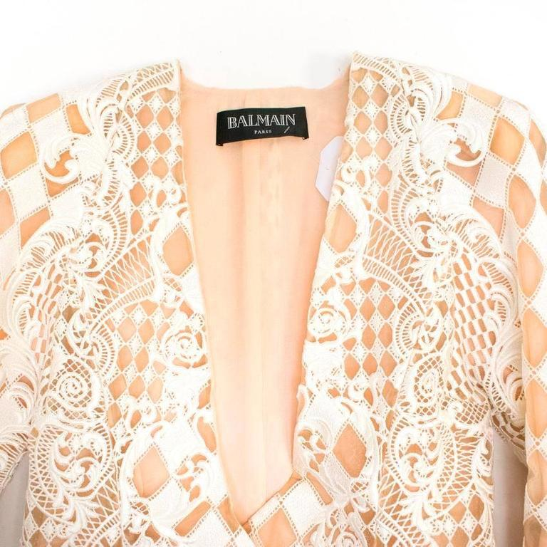 Balmain Nude and White Embroidered Jacket 10