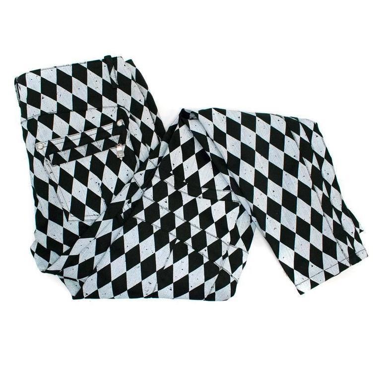 Balmain Black and Grey Harlequin Print Skinny Jeans 2