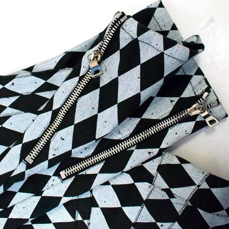 Balmain Black and Grey Harlequin Print Skinny Jeans 5