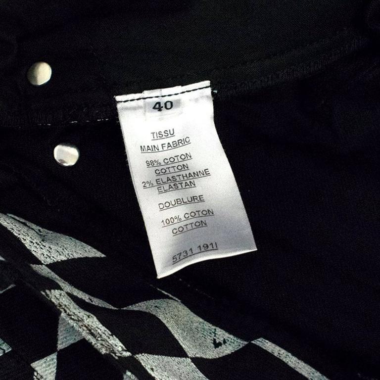 Balmain Black and Grey Harlequin Print Skinny Jeans 7