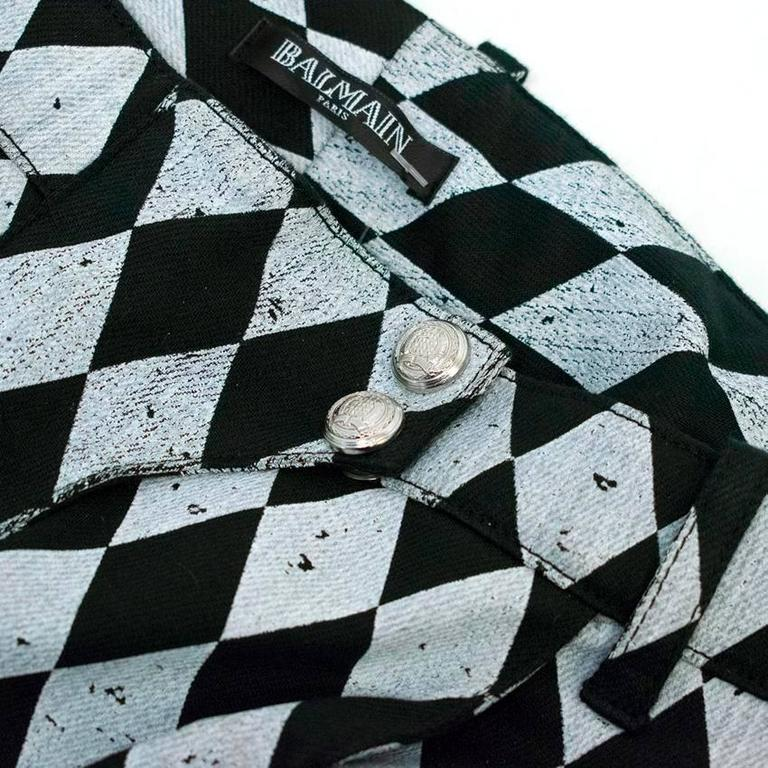 Balmain Black and Grey Harlequin Print Skinny Jeans 4