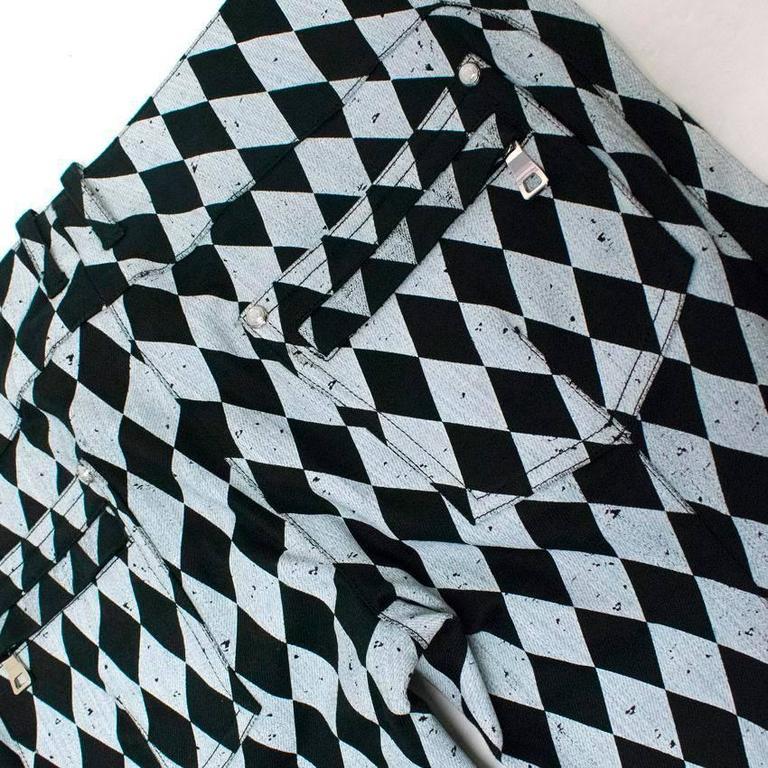 Balmain Black and Grey Harlequin Print Skinny Jeans 6