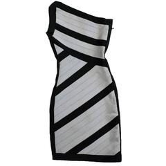 Herve Leger Black and Grey One Shoulder Body-Con Dress