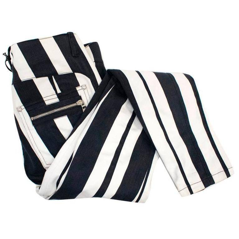 Balmain Black and White Striped Skinny Jeans 7