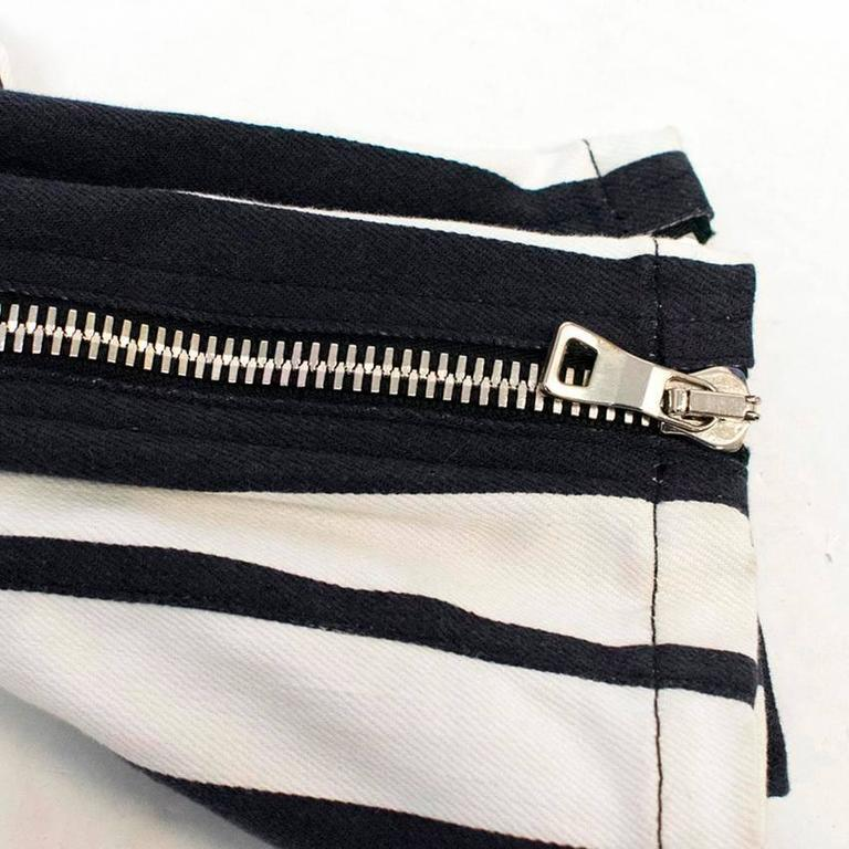 Balmain Black and White Striped Skinny Jeans 2