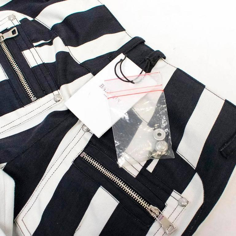 Balmain Black and White Striped Skinny Jeans 6