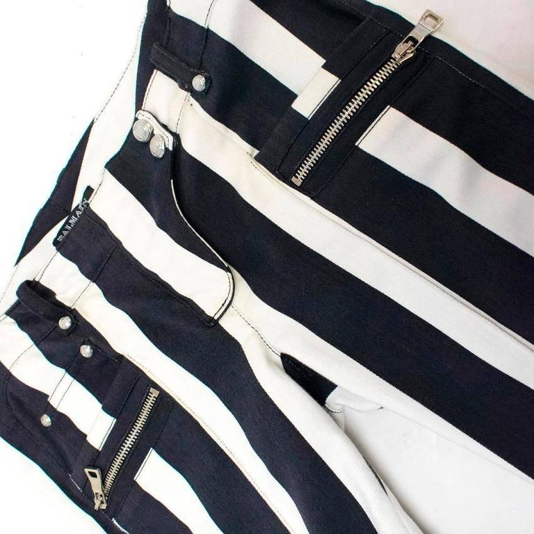 Balmain Black and White Striped Skinny Jeans 5
