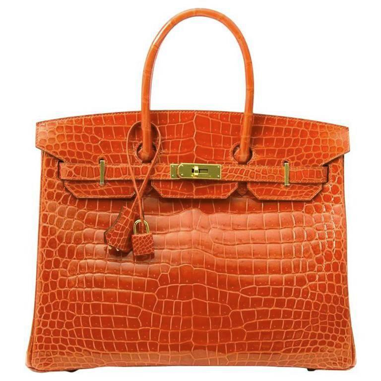 Hermes Poppy Orange Crocodile Birkin 35