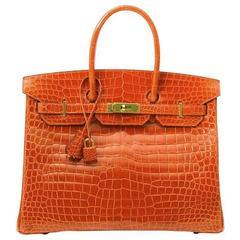Hermes Poppy Orange Crocodile Birkin 35