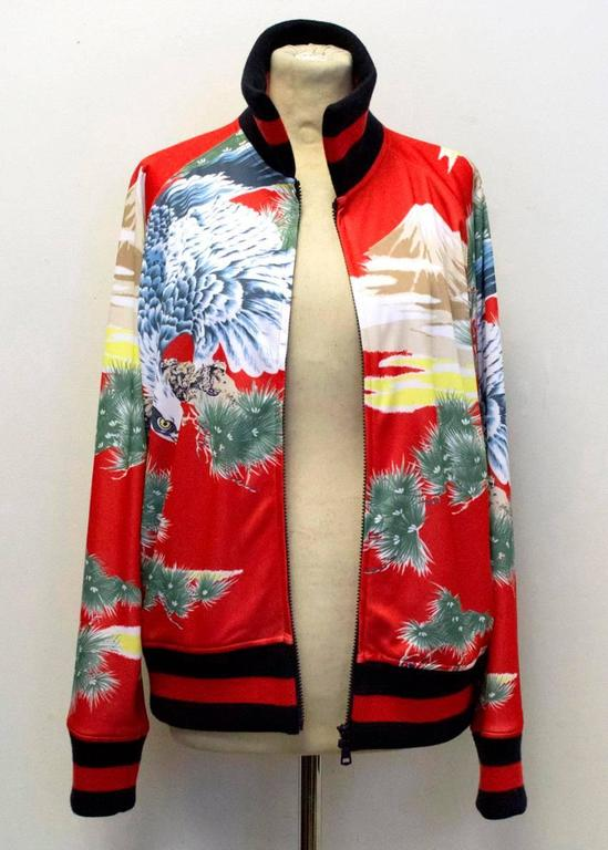 Gucci Men S Red Eagle Print Technical Jersey Jacket For