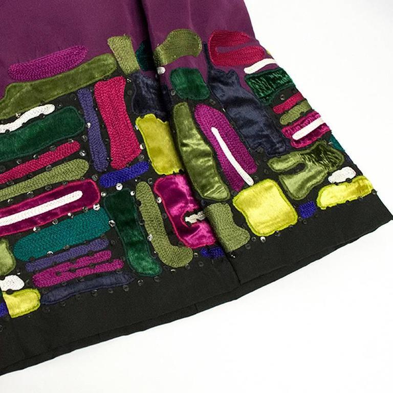 Oscar de la Renta Purple Dress with Embroidered Hem  10