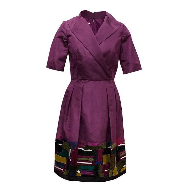 Oscar de la Renta Purple Dress with Embroidered Hem  1