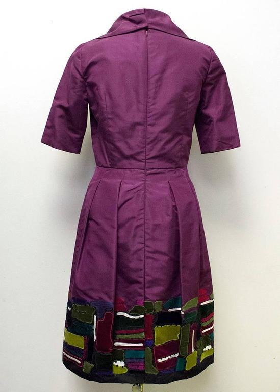 Oscar de la Renta Purple Dress with Embroidered Hem  4