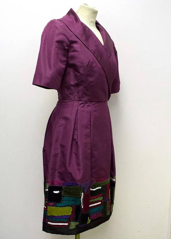 Oscar de la Renta Purple Dress with Embroidered Hem  3