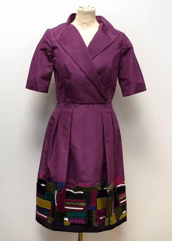 Oscar de la Renta Purple Dress with Embroidered Hem  2