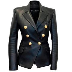 Balmain Black Leather Jacket with Gold Buttons