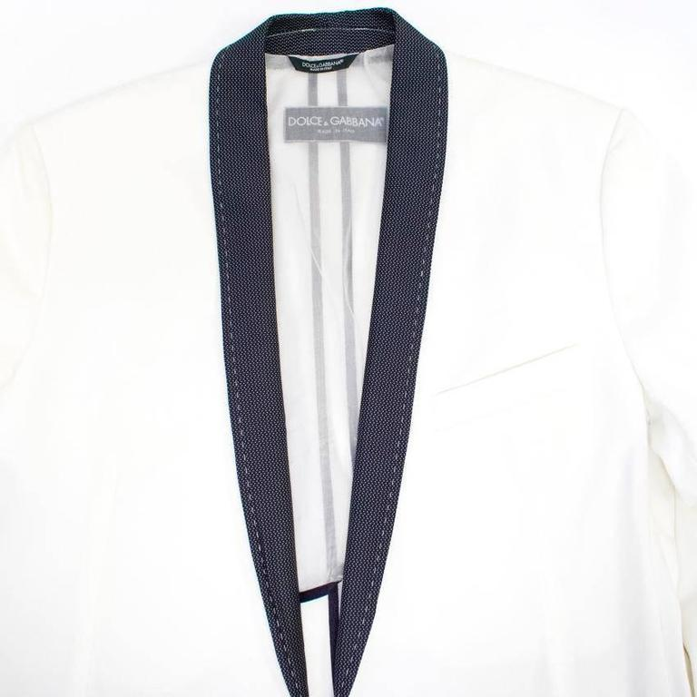 Dolce and Gabbana White Dinner Jacket with a Bow Tie For Sale 2