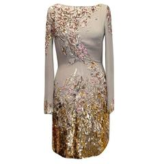 Mathew Williamson Sequin Georgette Embroidered Long Sleeve Dress