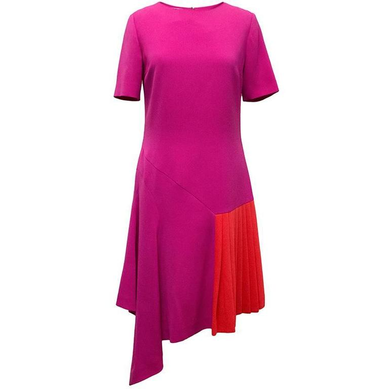 Oscar de la Renta Fuchsia Pink Dress With Red Pleat Insert 1