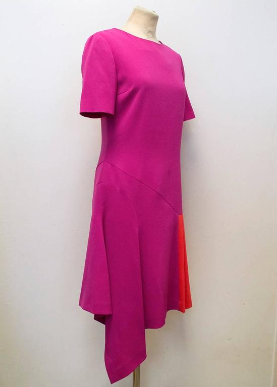 Oscar de la Renta Fuchsia Pink Dress With Red Pleat Insert 3