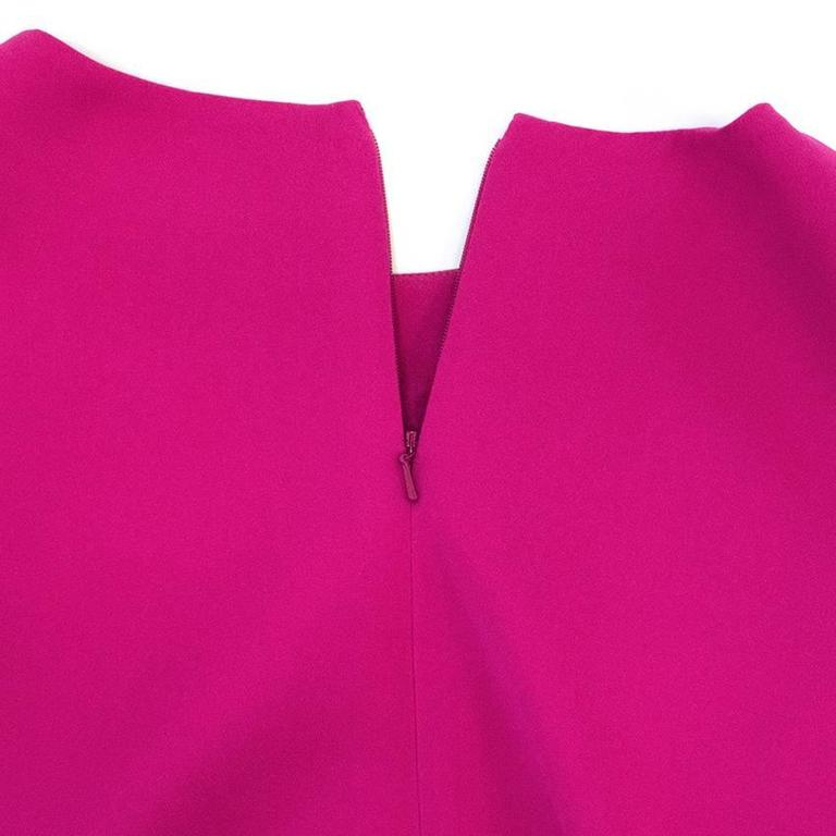 Oscar de la Renta Fuchsia Pink Dress With Red Pleat Insert 7