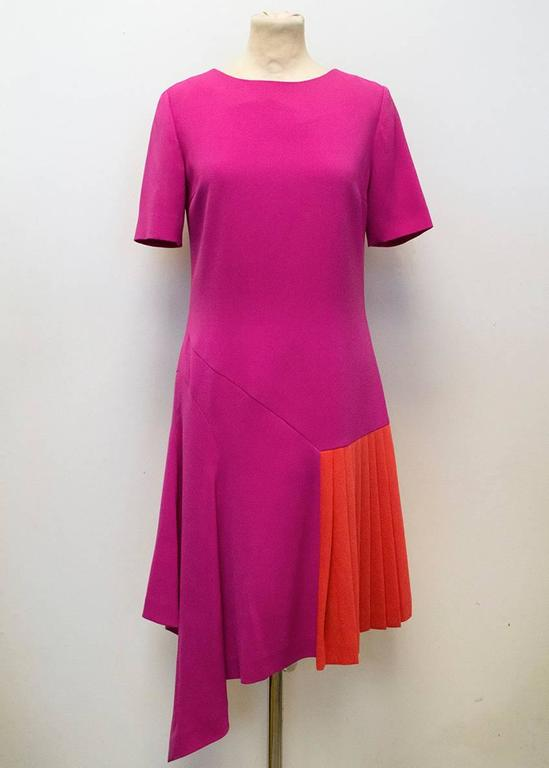 Oscar de la Renta Fuchsia Pink Dress With Red Pleat Insert 2