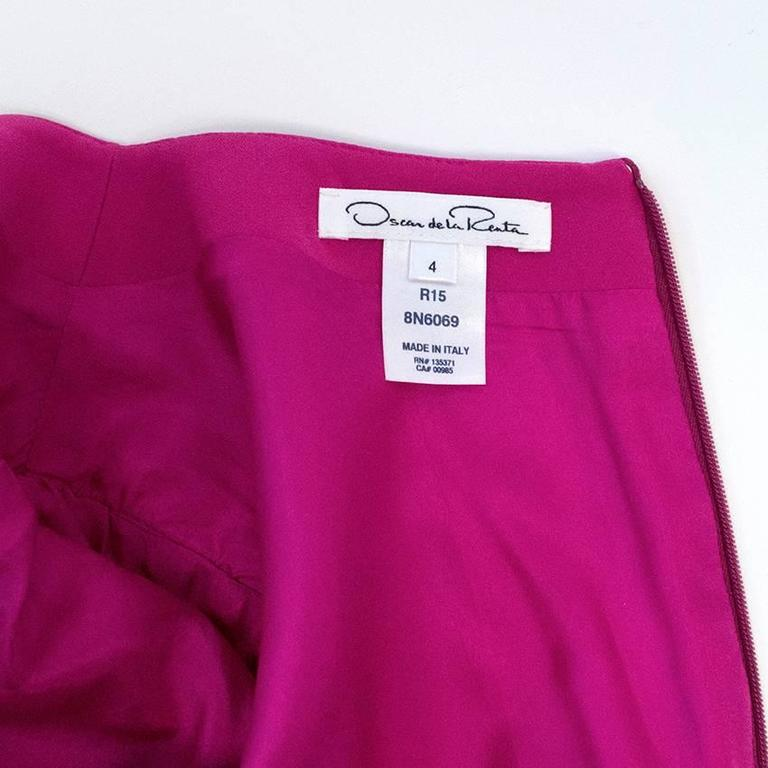Oscar de la Renta Fuchsia Pink Dress With Red Pleat Insert 6